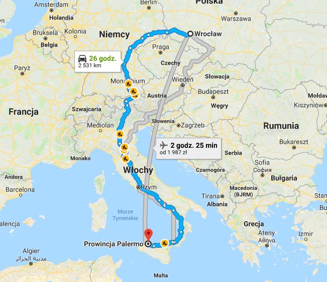 Transport Wrocław - Palermo Włochy